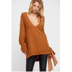 Free People Be Mine Mustard Lace Up Sweater